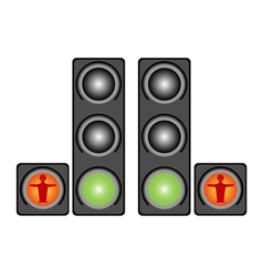 Red pedestrian traffic lights vector image