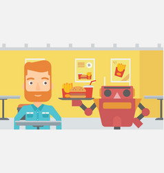 Robot making coffee for a client at coffee shop vector
