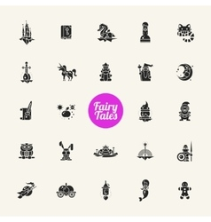 Set of fairy tales flat design magic icons and vector image vector image