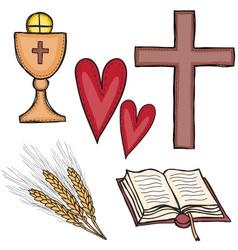 Set of religious symbols vector image