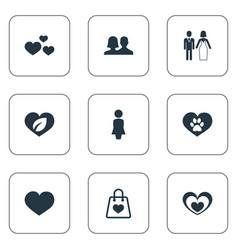 Set of simple love icons vector