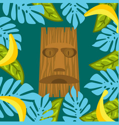 Tiki mask and palm leaves frame background vector