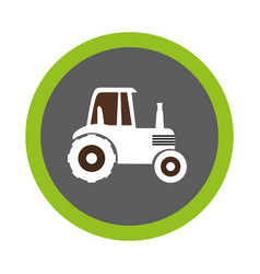 Tractor farm seal icon vector