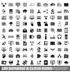 100 database and cloud icons set simple style vector image