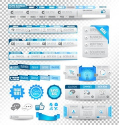 Collection of web elements menu items vector