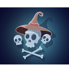 Halloween with skulls crossbones witch hat vector
