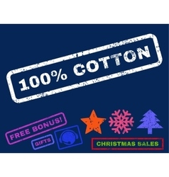100 percent cotton rubber stamp vector