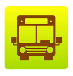 Bus sign   brown icon at green vector