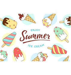 Ice cream icons pattern with text enjoy summer vector