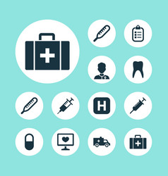 Drug icons set collection of hospital chest vector