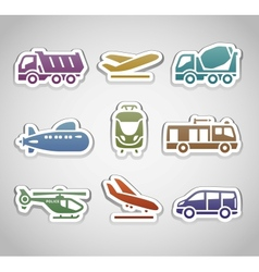 Flat retro color stickers - set thirteen vector