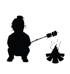 Child make meal on fire silhouette vector