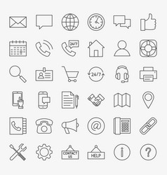 Contact us line icons vector