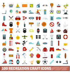 100 recreation craft icons set flat style vector