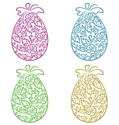 Set ornamental eggs in floral style for easter vector