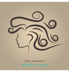 Female heads with beautiful hair vector