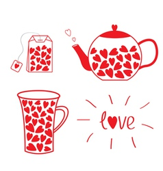 Tea set collection with hearts teabag teacup vector