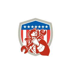 Mechanic American Patriot Holding Spanner Shield vector image