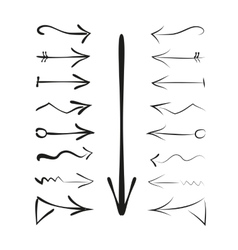 A set of hand drawn calligraphy arrows vector