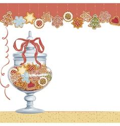 Christmas cookies in glass vase vector