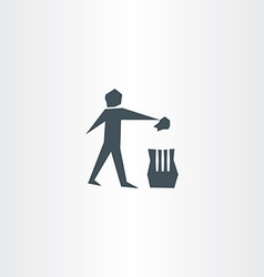 Recycling trash bin man symbol garbage icon vector