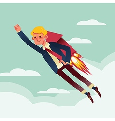 Businessman flying with rocket backpack cartoon vector