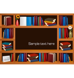 Wooden bookshelves vector