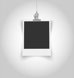 Empty vintage photo frame with clip vector