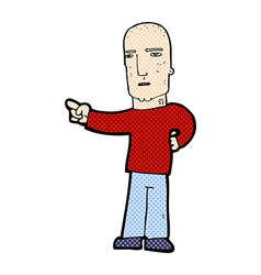 Comic cartoon tough guy pointing vector