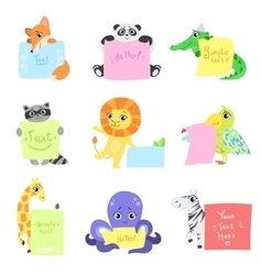 Animals with messages to fill set vector