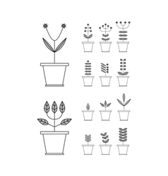Set with flowerpot icons nature collection flora vector