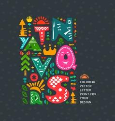 Alphabet doodle print vector image