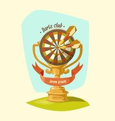 Darts club golden cup vector
