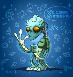 Alien space invader welcomes you vector image vector image