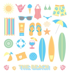 Beach Fun Objects and Icons vector image vector image