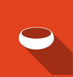 Bowl icon with long shadow vector