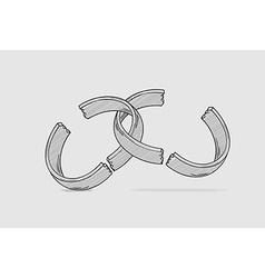broken ring divorce vector image vector image