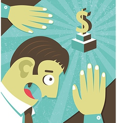 Businessman possessed by money greed vector