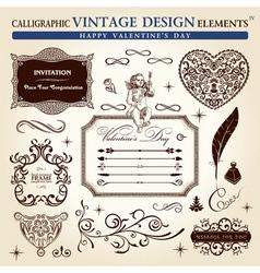 Calligraphic elements vintage ornament set happy v vector