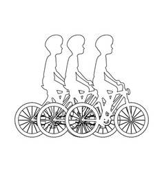 Cycling people riding a bicycle vector