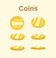 Golden coin in different position gold money vector