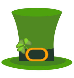 Green material leprechaun hat with brown leather vector