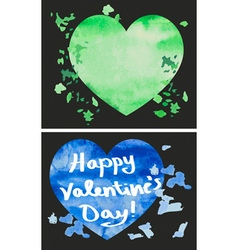 Happy valentines watercolor heart vector