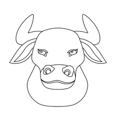 Head of bull icon in outline style isolated on vector
