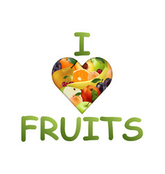 heart with fruit realistic style juicy fruits vector image vector image