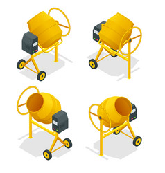 isometric set of concrete mixer icon for web vector image vector image