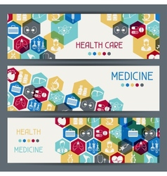 Medical and health care horizontal banners vector