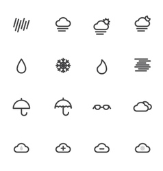 Outline weather icons isolated on white background vector image