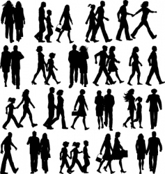People walking silhouettes vector