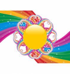 rainbow swirl and sun vector image vector image